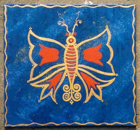 Golden Butterfly on Blue